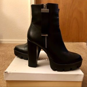Black Leather Platform Ankle Boots with Block Heel